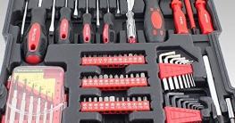 BITUXX® Werkzeugkoffer 399 teilig Knarrenkasten Werkzeugkiste Ringschlüssel Maulschlüssel Gabelschlüssel Ratschen Schlüssel Kombischlüssel Schraubenschlüssel Stecknüsse Schraubendreher Bits Kardangelenk -