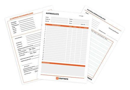 Digitale Formulare für Handwerker im Planungstool von Craftnote